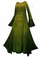 LONG green MEDIEVAL PRINCESS DRESS 10 12 14 16 18 S M L XL pagan handfasting