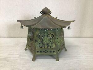 Y2489 TOUROU Hanging Copper Lantern openwork home decor Japan antique interior