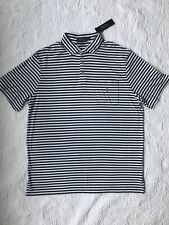 Mens Size Large Polo Ralph Lauren Polo Shirt Blue Striped Short Sleeve
