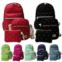 3PCS Unisex Women Men Backpack School Shoulder Bag Rucksack Canvas Travel bag DS