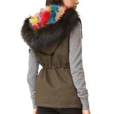 Jocelyn Womens Sleeveless Dyed Fox Fur Rebel lined Vest Jacket Green M $1197