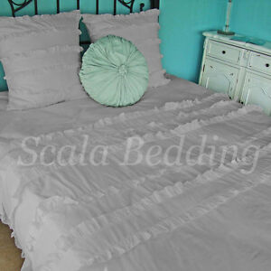 Egyptian Cotton 1000 TC 1 Piece Ruffle Flat Sheet All Size & Color Solid