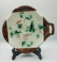 "Rare Majolica Morning Glory with Vine on Woven Napkin Handled plate 10 3/4"" W"