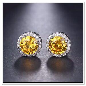 ZARD Yellow Round-Cut CZ Crystal Halo Stud Earrings in Fine Silver Plate
