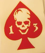 """Ace of Spades 13 Skull (3"""" x 3.75"""") Vinyl Decal Sticker (Made in the USA)"""