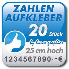20 Zahlenaufkleber je 25 cm hoch, Klebezahlen Klebeziffern in Ihrer Wunschfarbe