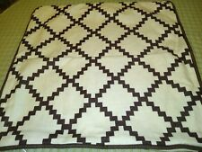 "2 Pillow Covers  20"" x 20"" Brown and Beige Cotton Linen w/Zipper Great Shape"