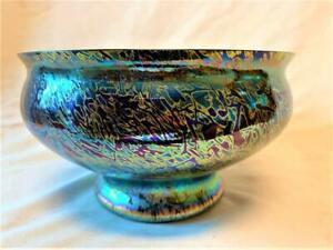 STUNNING ROYAL BRIERLEY  IRIDESCENT BLUE GLASS BOWL  21cm
