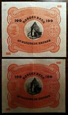 Norway Lot Of 2 (Two) Consecutive 100 Kroner 1940 (P-10c)
