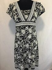 Ann Taylor Loft Womens Black White Floral Stretch Short Sleeves Dress Size 6 P