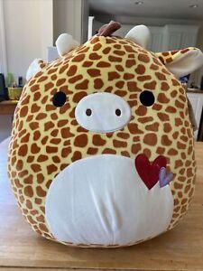"Squishmallows 16"" MICAH Giraffe Squishmallow Plush Animal Valentine's Hearts"