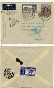 INDIA HONG KONG 9 CENSORED +LUCKNOW A19 WW2 1940 AIRMAIL USA PACIFIC