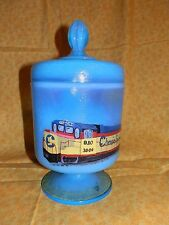 New RARE One of A Kind FENTON Chessie CAT Candy JAR Dish SIGNED B&O TRAIN OOAK
