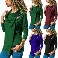 Women Long Sleeve Cowl Neck Wrap Tops Buckle Tee Casual Jumper Sweater T-Shirt