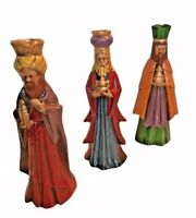 Three Wise Men Magi Ceramic Candleholders Mid Century Old World Christmas  VTG