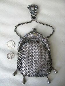 Antique Chatelaine Floral Cattail 4 Tassel Belt Clip Chain Mail Kilt Coin Purse