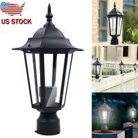 US Post Pole Light Outdoor Garden Patio Driveway Yard Lantern Lamp Fixture Black