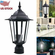 Outdoor Exterior Solar Powered LED Pillar Light Post Lamp Garden Yard Lantern US