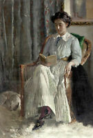 Art Oil painting Carl Theodor von Blaas nice young woman reading book no framed