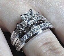 2.56CT PRINCESS DIAMOND ENGAGEMENT WEDDING RING BRIDAL SET 14K WHITE GOLD PD765E
