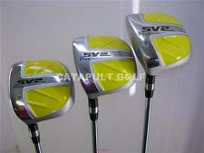 NEW MENS GOLF CLUBS WOOD SET 3 5 7 YELLOW SQUARE TRUE TEMPER LEFT LONG GREENS