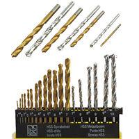 Masonry Brick Metal Wood Drill Bit Set 19 Piece HSS Titanium & TCT Masonary A193