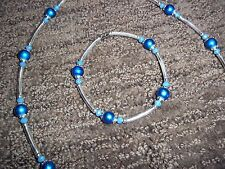 19 in MAGNETIC Clasp Blue PEARL and Blue CRYSTAL Bead Necklace Bracelet SET N-42