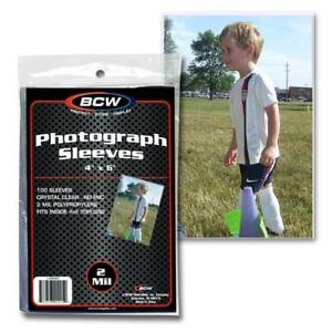 PACK OF 100 BCW 4x6 PHOTO 2 MIL SOFT POLY SLEEVES PROTECTORS