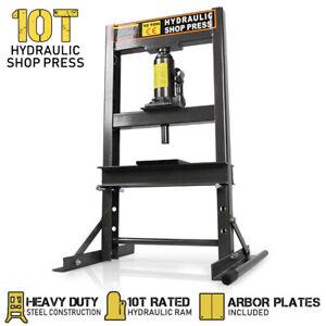 10 Ton Hydraulic Shop Press Workshop Jack Stand Garage Bending Bearing Tool
