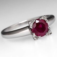2Ct Round Cut Solitaire Ruby Art Engagement Proposal Ring White Gold Fnsh Silver