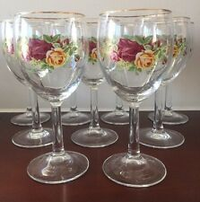 Royal Albert Old Country Rose Gold Trim 2 Wine Glass Goblets