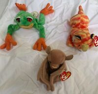 Lot of 3 Beanie Babies (2 are retired. Batty PVC '96 & Panama '01) Tiger '98