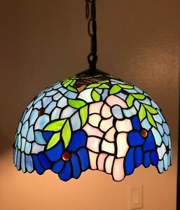 Leaf Pink Blue  Stained Glass  Antique Vintage Pendant  Light W12*H46 inch