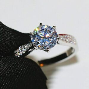 2.20 TCW Round Cut Moissanite Diamond Engagement Ring in 14K White Gold Plated