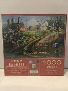 "Suns out Hidden Images Pony Express 1000 Piece Jigsaw Puzzle 19""x30"""