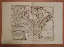 Canada, Louisiane, Possessions Anglaises 1784 HAND COLORED MAP DE VAUGONDY