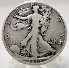 1919-D United States walking Liberty 90% silver half dollar, #A999 BIN
