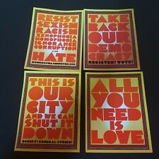 Chuck Sperry - Set of 4 Stickers All You Need Is Love Democracy