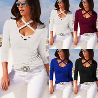 Women V-Neck Long Sleeve Lace Up T-Shirt Casual Slim Fit Stretch Tee Blouse Tops