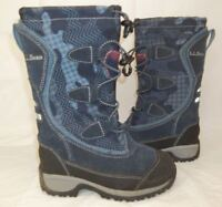 L.L. Bean Kids Boots 05455 US 10 Blue Leather Pull on Snow lace up All weather