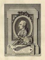 Portrait de Gabriel Pierre Martin Dumont Architecte Gravure Folio 18e