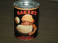 "VINTAGE KITCHEN  4 1/4"" HIGH BAKER'S COCONUT TIN COIN SAVINGS BANK"