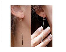 Simple & Elegant Gold Tone Long Drop Bar & Chain Earrings - BRAND NEW!!