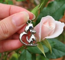 Cremation Jewelry Pendant Urn Ashes Silver Dog Heart Memorial Gift Puppy Angel