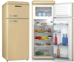 Schneider A++ Kühlgefrierkombination Retro Kühlschrank Creme Eierschalen Matt