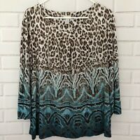 Chico's Women's Size 3 (XL) Brown Blue Leopard Print Boho Top 3/4 Sleeve Stretch