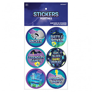 Battle Royal Gamer Birthday Party Favour Stickers - Pack of 24