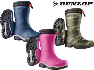 Kids Fleece Lined Wellies Dunlop Childrens Thermal Waterproof  Wellington Boots