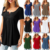 Women Short Sleeve Blouse Tee T Shirt Tunic Summer Loose Casual Tops Plus Size