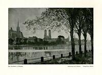 Die Dominsel in Breslau Kunstdruck 1923 von H. Fischer Wroclaw